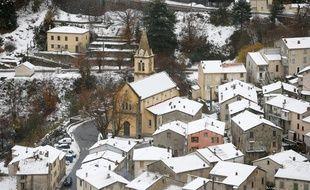 Un village de Corse recouvert de neige le 2 décembre