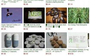 Diverses drogues illégales vendues sur le site Silk Road.