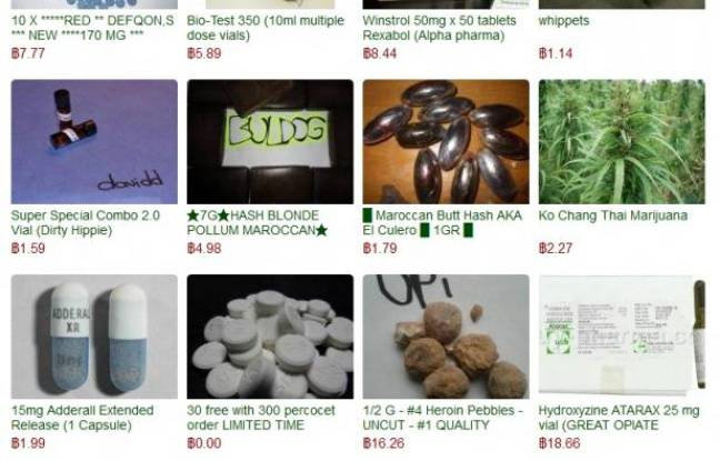 Diverses drogues illégales vendues sur le site Silk Road.