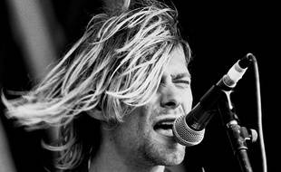 Le leader du groupe Nirvana, Kurt Cobain, au Reading Festival (Royaume-Uni), le 23 août 1991.