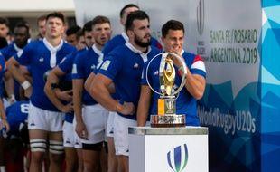 L'équipe de France de rugby U20 lors de la finale de la Coupe du monde contre l'Australie, le 22 juin 2019