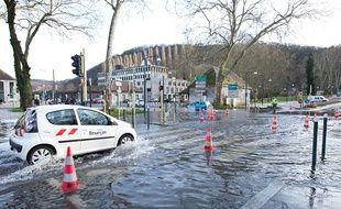 Crue du Doubs et inondations à Besançon le 24 janvier 2018.