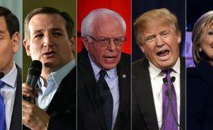 Montage en date du 4 février 2016 de portraits récents de Marco Rubio, Ted Cruz, Bernie Sanders, Donald Trump et Hillary Clinton