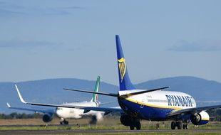 Un Boeing 737 de Ryanair sur le tarmac de l'aérport de Rome, le 31 mai 2019.
