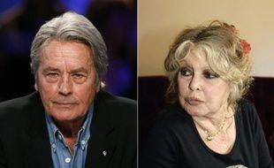 Deux photos des acteurs Alain Delon (à gauche) le 7 janvier 2008 à Paris, et Brigitte Bardot le 28 septembre 2006 à Paris