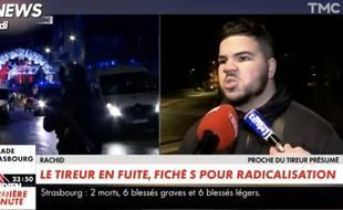 Capture d'écran de Quotidien. Rachid parle du suspect de l'attentat à Strasbourg sur CNews mardi soir.