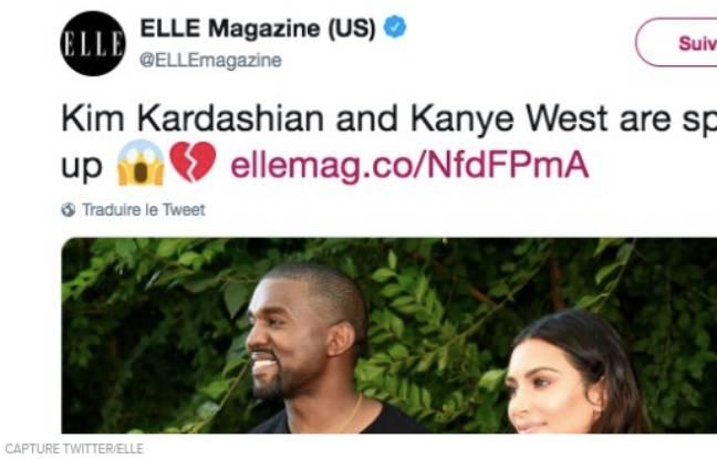 Le tweet du magazine américain «Elle» annonçant la rupture du couple Kardashian/West.