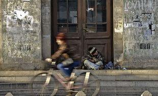 illustration: un mendiant en Roumanie.