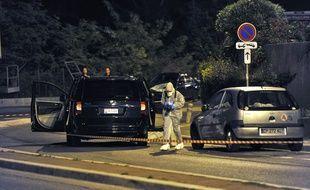 Scène de la fusillade ayant visé Hélène Pastor et son chauffeur à Nice le 6 mai 2014.