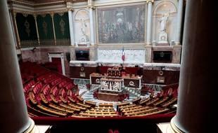 Illustration: Vue de l'Hémicycle, à l'Assemblée nationale, à Paris, le 19 mai 2020.