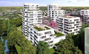 La vue d'architecte du futur projet immobilier du groupe Giboire à Rennes, sur le terrain des Cadets de Bretagne.