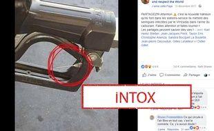 La photo utilisée pour relayer l'intox sur les pompes à essence porteuses de seringues.