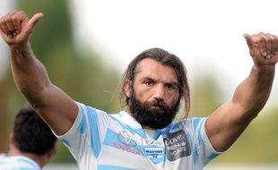 Le rugbyman français Sébastien Chabal, sous les couleurs du Racing Metro, le 29 août 2009 face à Bayonne, à Colombes.
