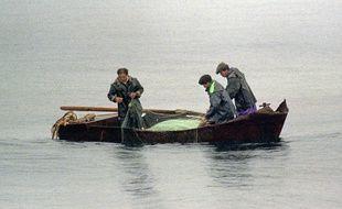 Illustration de pêcheurs nord-coréens.
