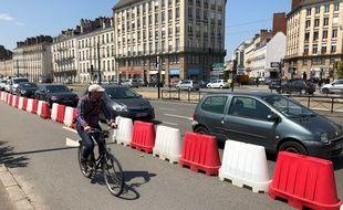 Une piste temporaire a été aménagée quai de la Fosse à Nantes