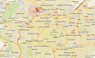 Carte de localisation d'Argenteuil (Val d'Oise)