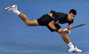 Novak Djokovic lors de sa demi-finale contre Roger Federer à l'Open d'Australie, le vendredi 25 janvier 2007.