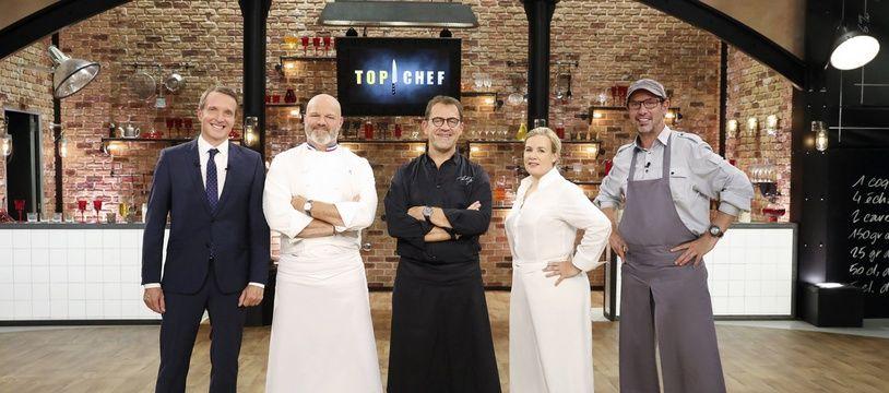 """Stéphane Rotenberg et le jury de """"Top Chef"""": Philippe Etchebest, Michel Sarran, Hélène Darroze et Paul Pairet."""