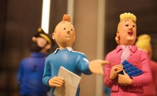 Un personnage de Tintin et de la Castafiore, ici dans une boutique de Bruxelles.