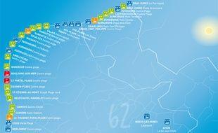 La carte 2014 de la qualité des eaux de baignade dans le Nord Pas-de-Calais.
