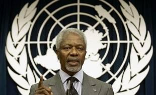 Photo d'archives du 29 mars 2005, montrant Kofi Annan, alors secrétaire général des Nations Unies, lors d'une conférence de presse au QG de l'ONU, à New York.