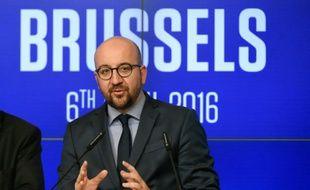 Le Premier ministre belge Charles Michel, lors d'une conférence de presse le 6 avril 2016 à Bruxelles
