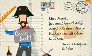 La carte postale de la police française adressée à Farouk Hachi.