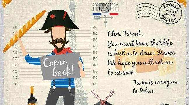 La carte postale de la police française adressée à Farouk Hachi. – Capture d'écran