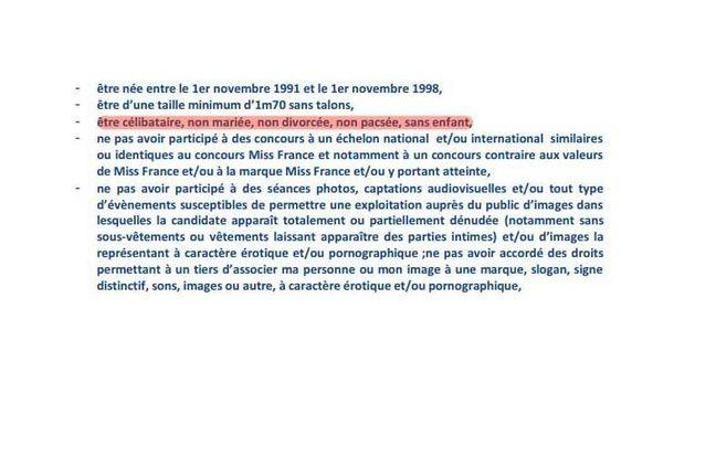 Le règlement interdit aux candidates à miss France d'être mariées ou pacsées.