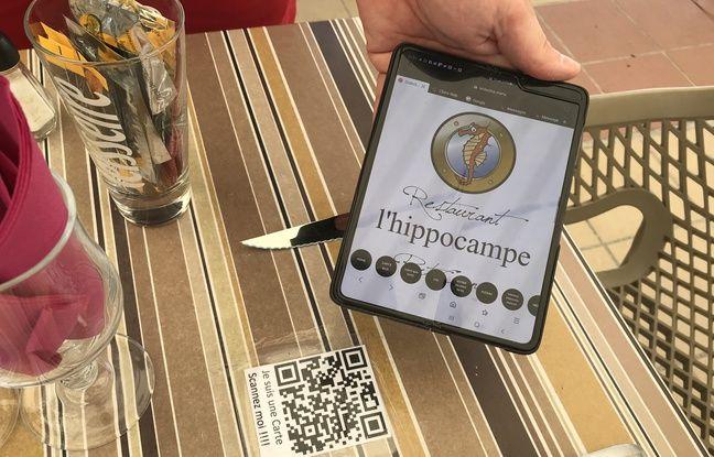 A l'Hippocampe, à Carnon, on peut flasher un QR Code pour télécharger la carte sur son téléphone.