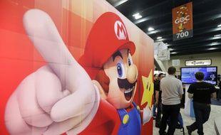 Une image de Mario sur le stand de Nintendo, à la Game Developers Conference de San Francisco, le 19 mars 2014.