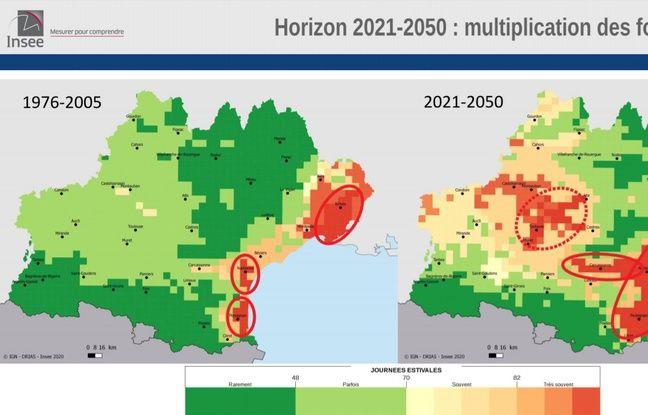 Perspective des hausses de chaleur sur la région Occitanie à l'horizon 2021-2050.