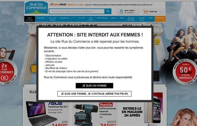 «Attention, site interdit aux femmes», annonce Rue du Commerce en guise d'accueil.