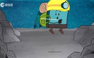 Philae rebondit sur Tchouri dans un dessin animé mis en ligne le 9 mars 2015.