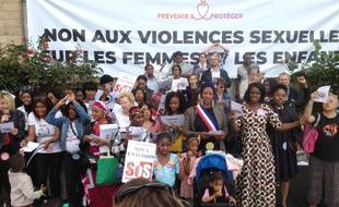 Manifestation contre l'excision; les mariages forces et les violences sexuelles a l'encontre des femmes, le 15 Juin 2019, Quai de la Seine a Paris.