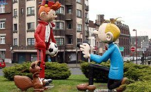 Les personnages de Spirou et Fantasio, à Bruxelles, en 2008.