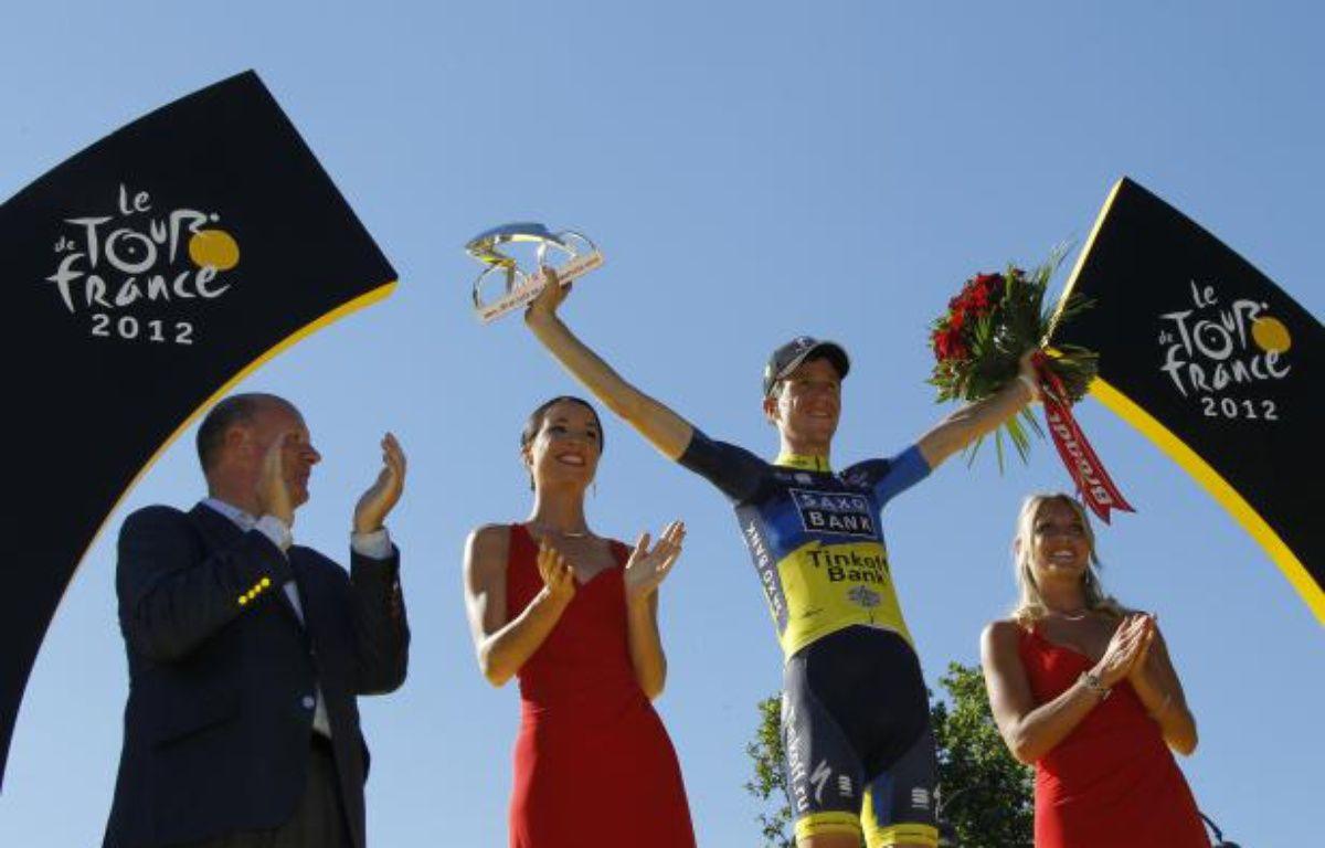 Le coureur danois Chris Anker Sorensen, vainqueur du prix de la combativité lors du Tour de France 2012, le 22 juillet 2012 à Paris. – G.Fuentes/REUTERS