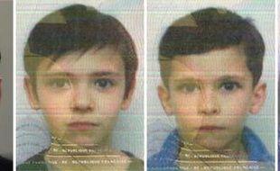 Le père (G) et les trois enfants recherchés (de G à D): Joris, 10 ans, Jad, six ans, et Alia, cinq ans, sur ces photos diffusées par la gendarmerie