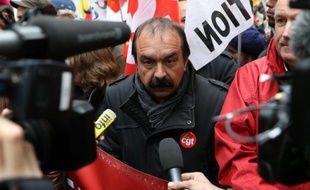 Philippe Martinez, secrétaire général de la CGT; lors d'une manifestation contre le projet de loi travail à Paris le 19 mai 2016