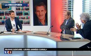 Christophe Beaugrand, Pierre Lescure et Philippe Gildas sur le plateau de LCI