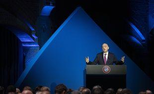 Le président de l'UEFA Gianni Infantino à un congrès de l'UEFA, le 3 mars 2020.