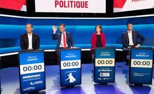 Benoît Hamon, Florian Philippot, Nathalie Loiseau et Jordan Bardella lors d'un débat sur les européennes sur France 2, le 4 avril 2019.