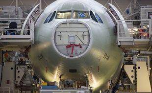 La chaîne d'assemblage de l'Airbus A330, à Colomiers, près de Toulouse. Archives.