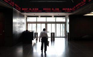 L'entrée de la bourse d'Athènes, le 15 octobre 2014