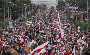 Manifestation contre le pouvoir biélorusse, à Minsk le 6 septembre 2020.