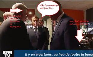 Emmanuel Macron au moment de lâcher sa phrase.