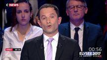 Benoît Hamon lors du débat présidentiel du 4 avril 2017 sur BFMTV et CNews.