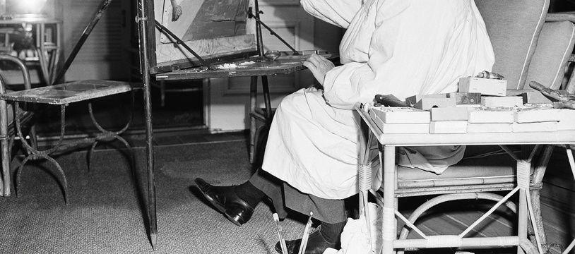 Winston Churchill peignant, pendant une visite en Floride, le 29 janvier 1946.