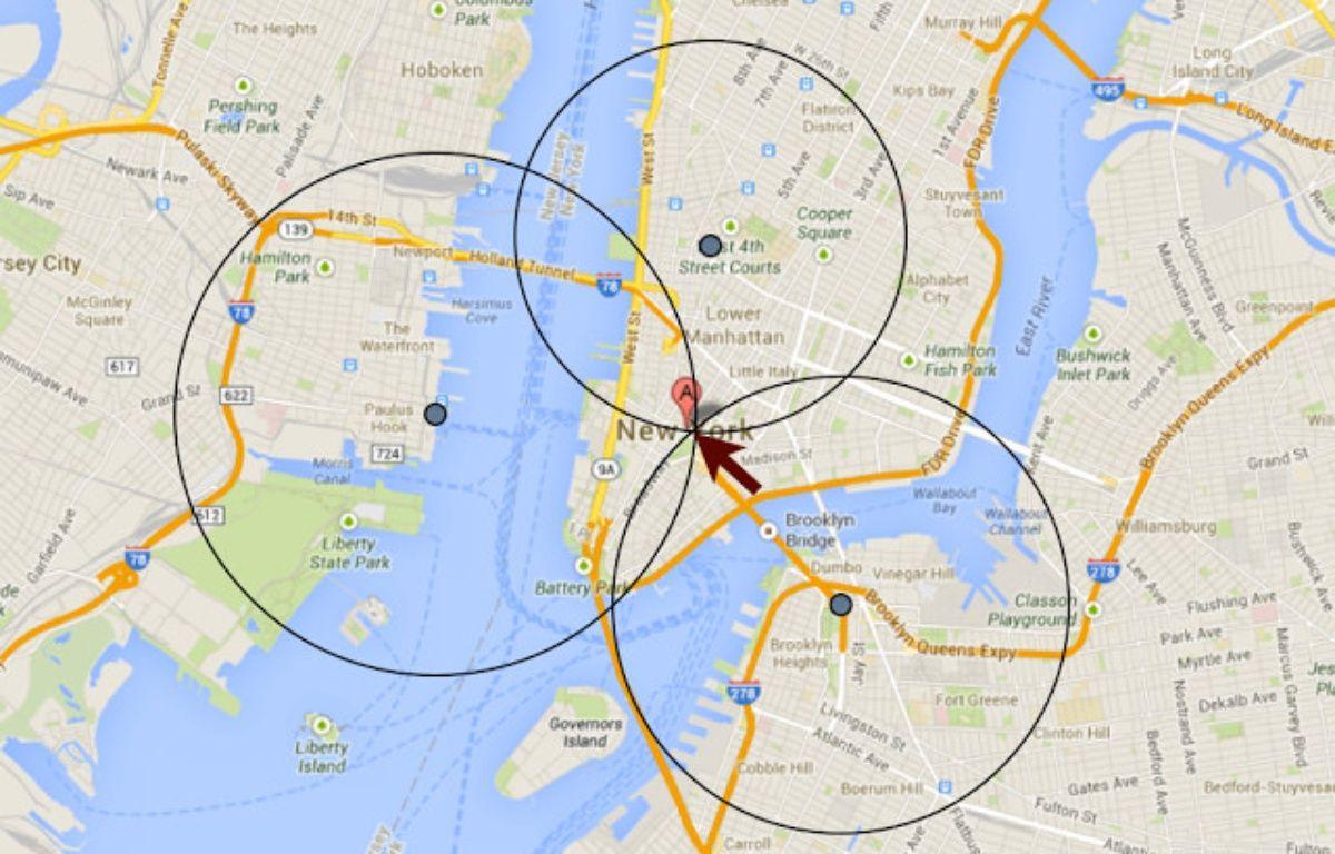 Un exemple de triangulation pour déterminer des coordonnées géographiques. – INCLUDE SECURITY