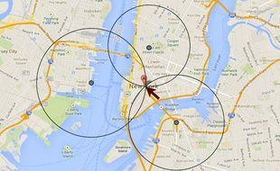 Un exemple de triangulation pour déterminer des coordonnées géographiques.